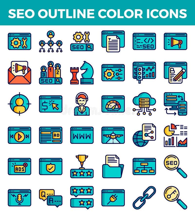 Iconos del color del esquema de la optimización del motor de SEO Search Ilustraci?n del vector ilustración del vector