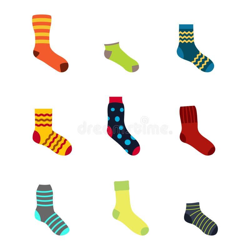 Iconos del color fijados con los calcetines ilustración del vector