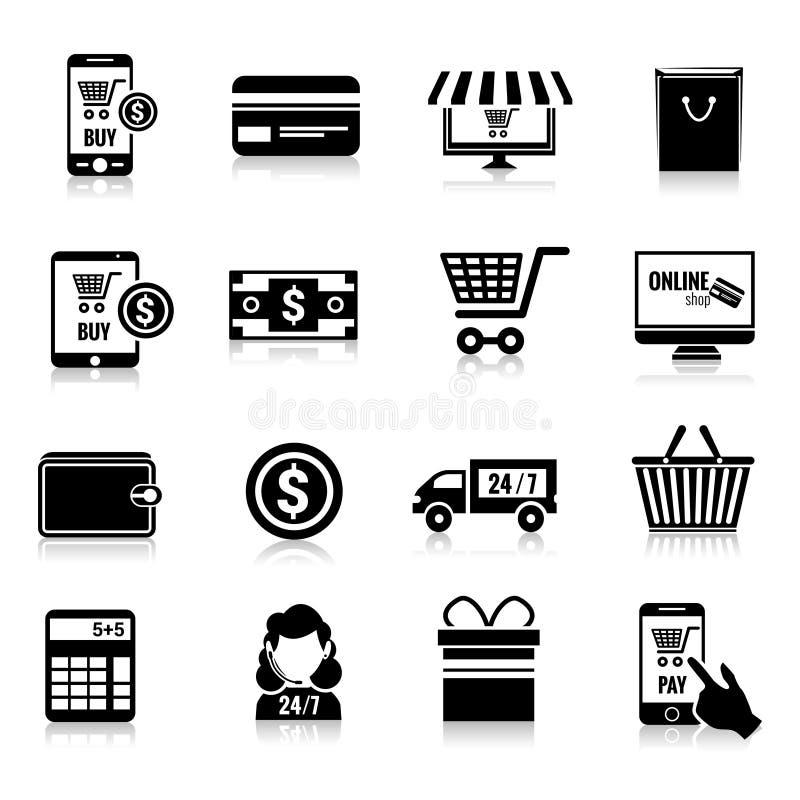 Iconos del comercio electrónico fijados negros stock de ilustración