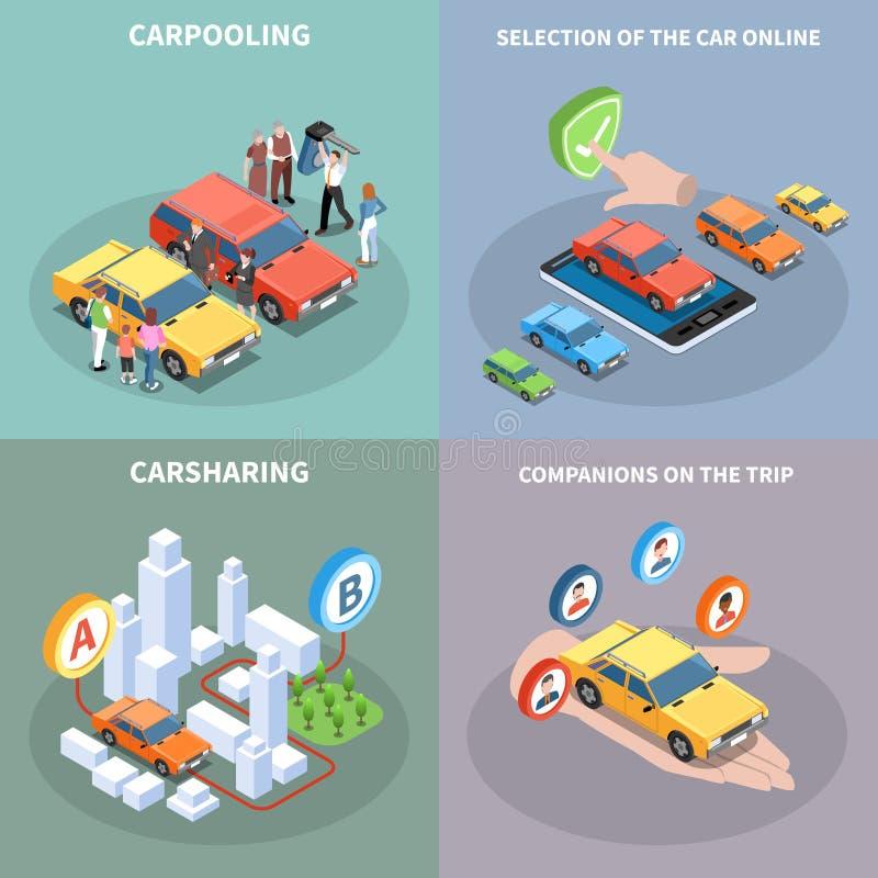 Iconos del concepto del coche compartido fijados ilustración del vector
