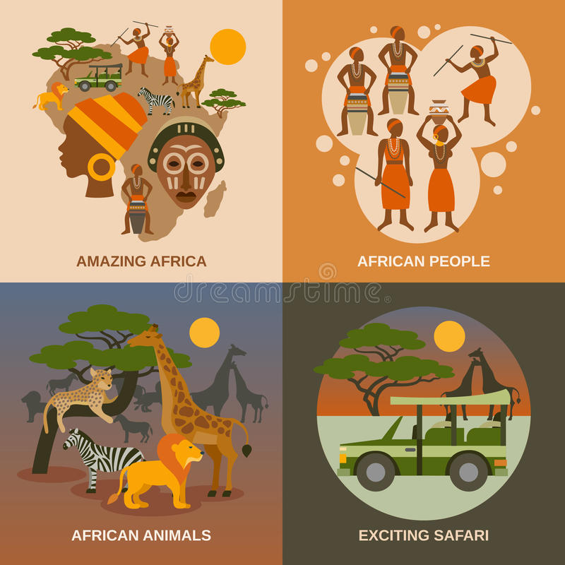 Iconos del concepto de África fijados stock de ilustración