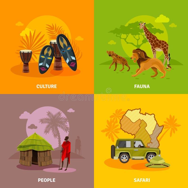 Iconos del concepto de África fijados ilustración del vector
