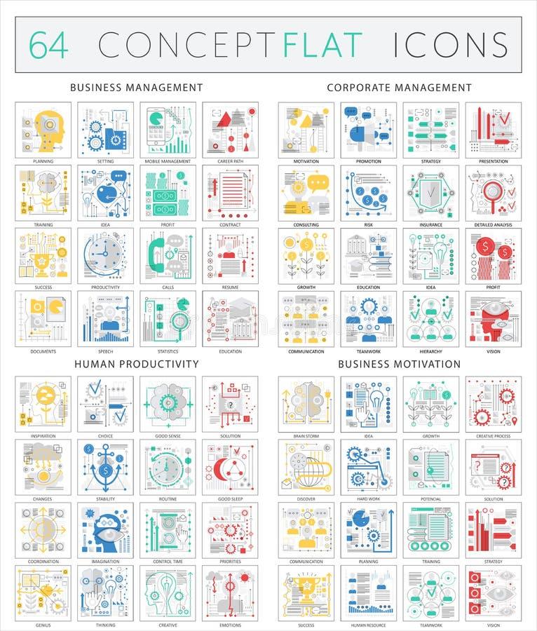 Iconos del concepto de Infographics de la gestión de negocio, gestión corporativa, productividad humana, motivación del negocio V libre illustration
