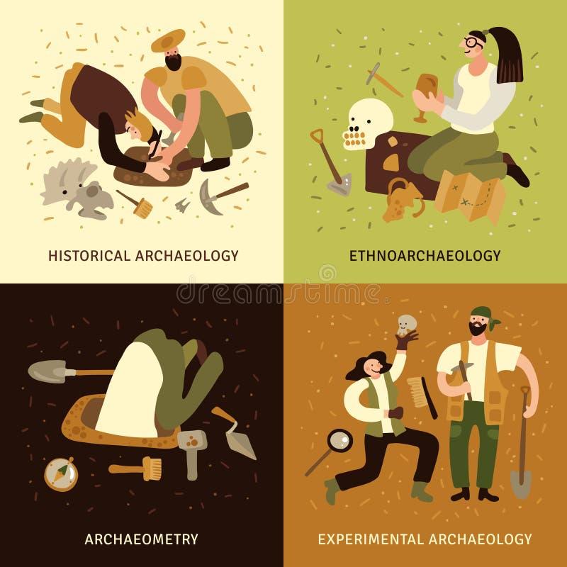 Iconos del concepto de la arqueología fijados libre illustration