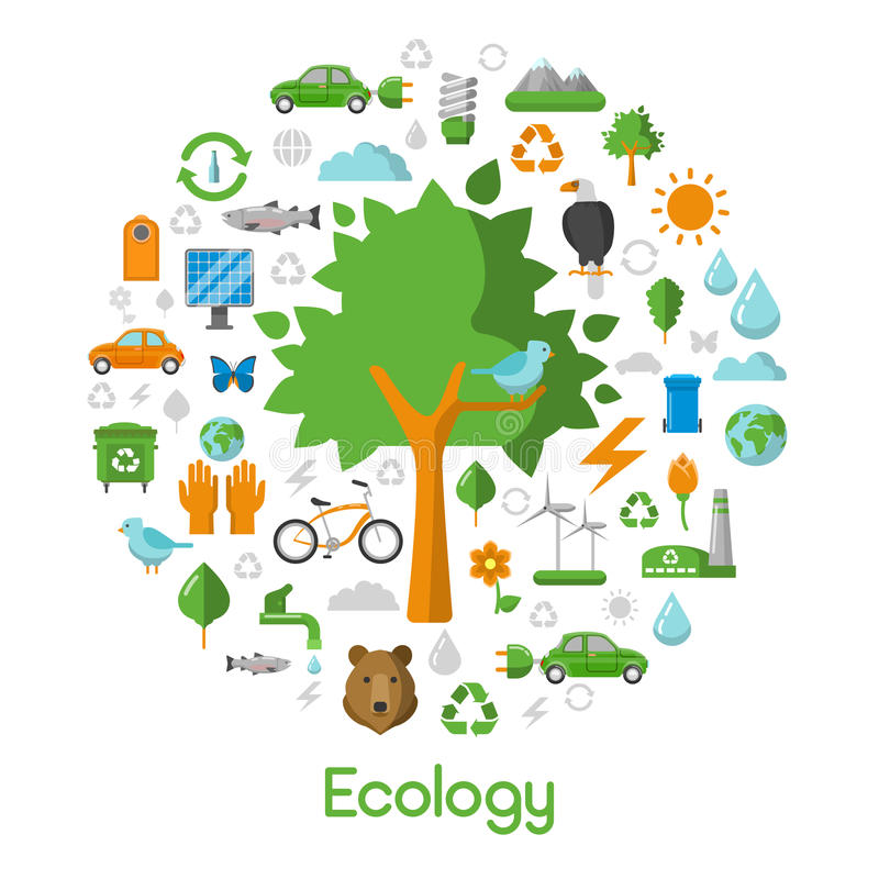 Iconos del concepto de la ciudad del verde del ambiente de la ecología ilustración del vector