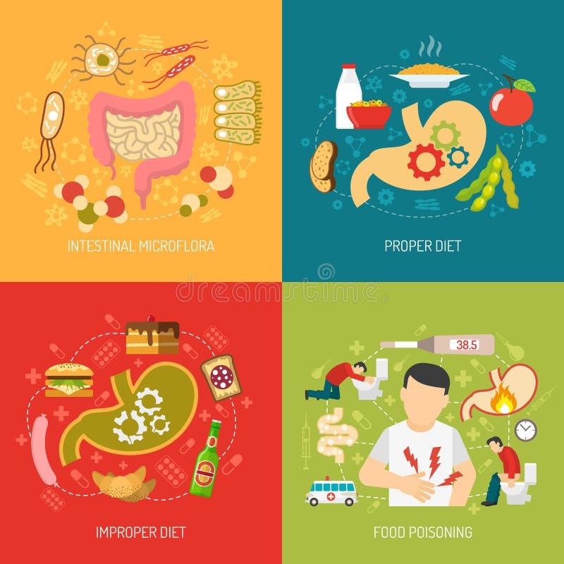 Iconos del concepto de la digestión fijados ilustración del vector