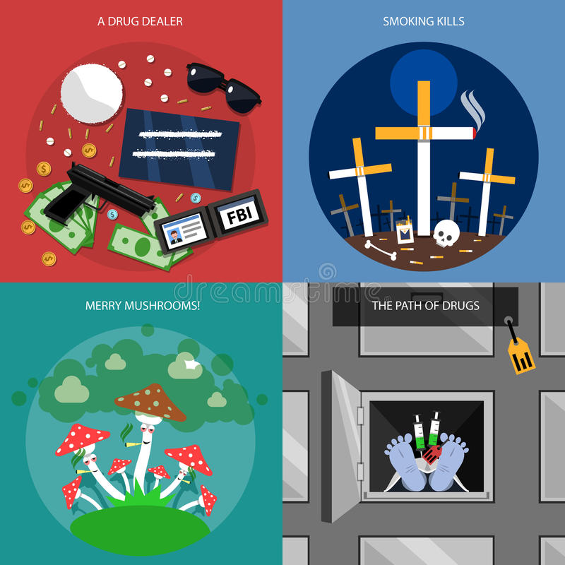 Iconos del concepto de la droga fijados ilustración del vector