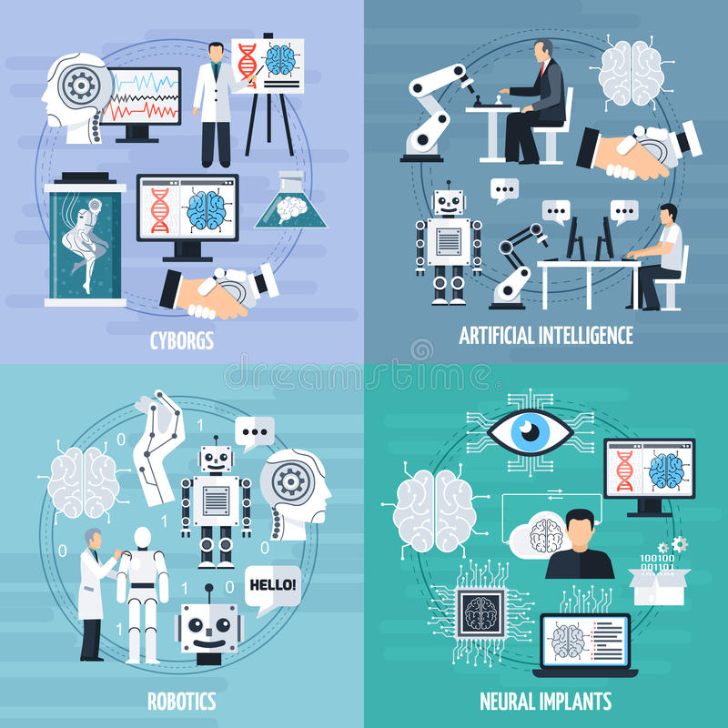 Iconos del concepto de la inteligencia artificial fijados libre illustration