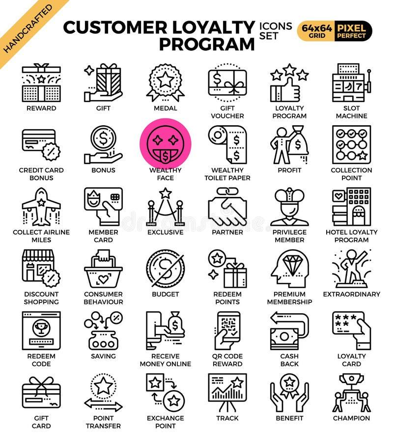 Iconos del concepto de la lealtad del cliente stock de ilustración