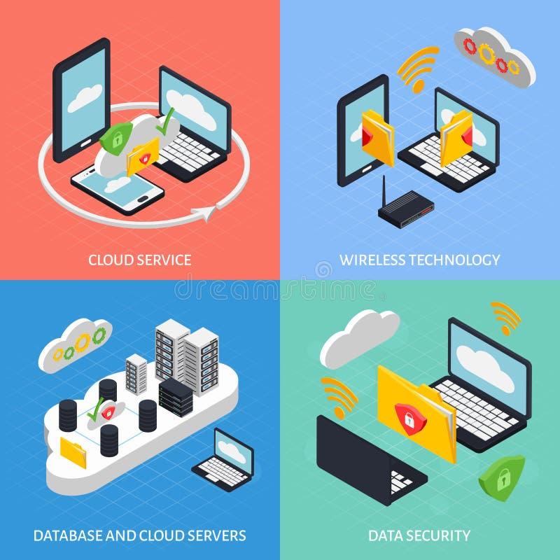 Iconos del concepto de la oficina de la nube fijados stock de ilustración