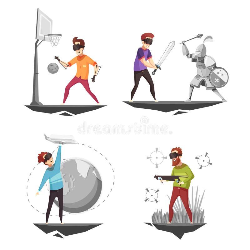 Iconos del concepto 4 de la realidad virtual ilustración del vector