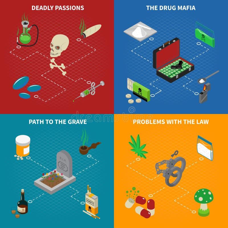 Iconos del concepto de la toxicomanía fijados stock de ilustración