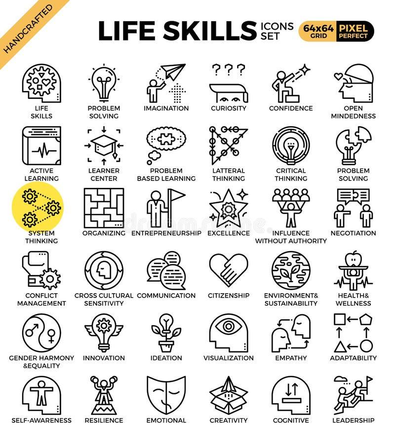 Iconos del concepto de las habilidades de la vida stock de ilustración