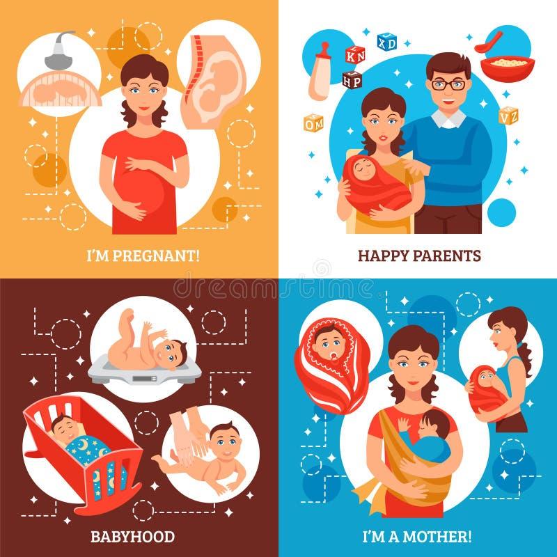 Iconos del concepto de los padres fijados ilustración del vector