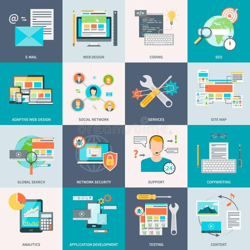 Iconos del concepto del desarrollo del sitio web ilustración del vector