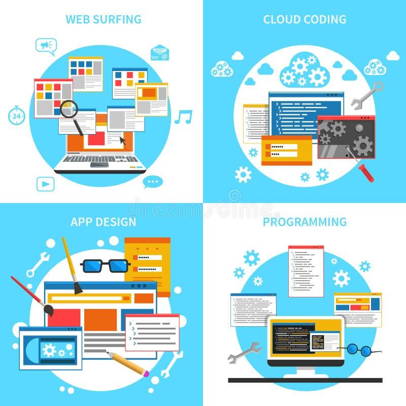 Iconos del concepto del desarrollo web fijados ilustración del vector