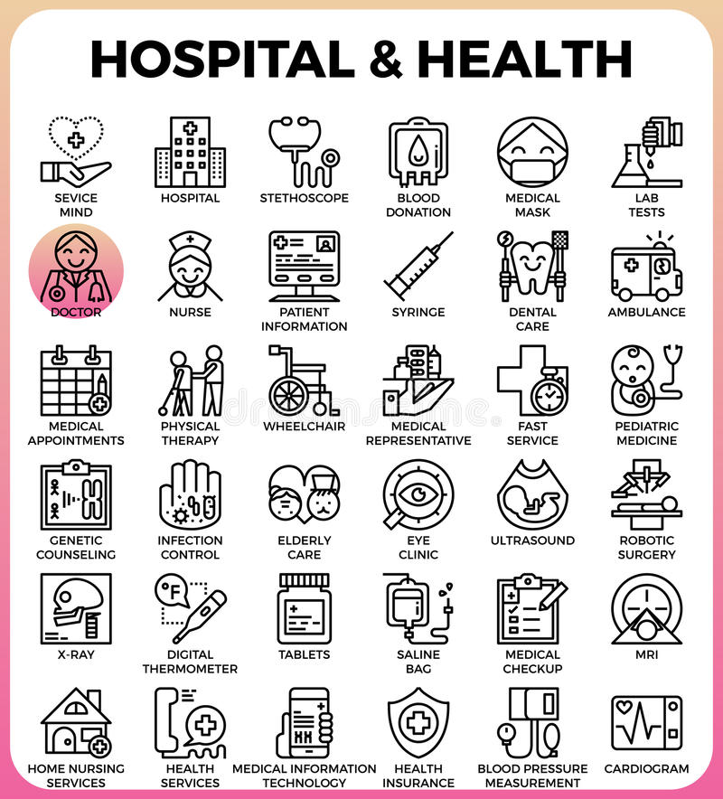Iconos del concepto del hospital y de la salud libre illustration
