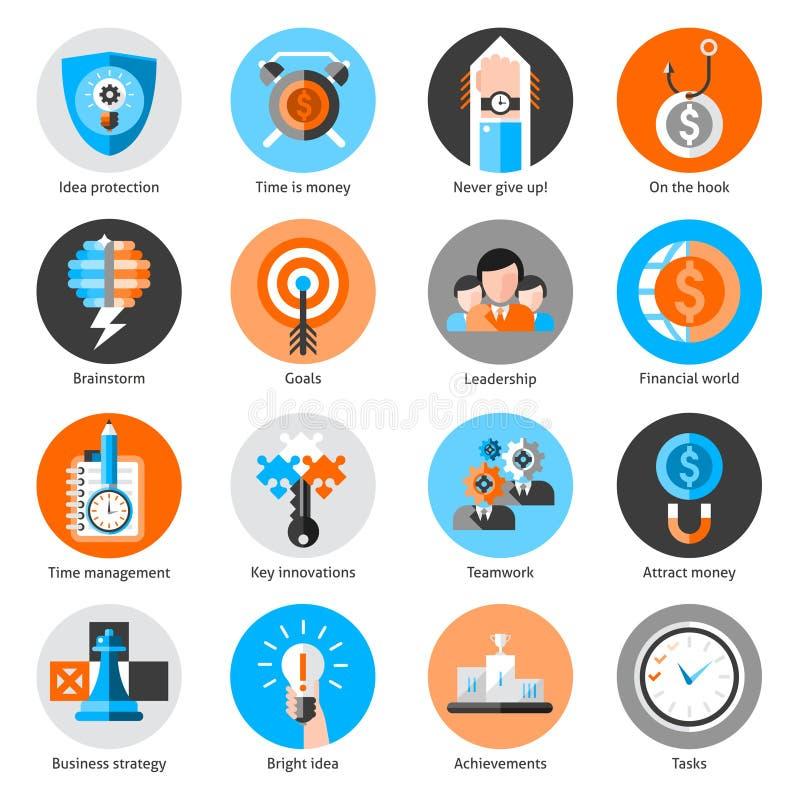 Iconos del concepto del negocio fijados libre illustration