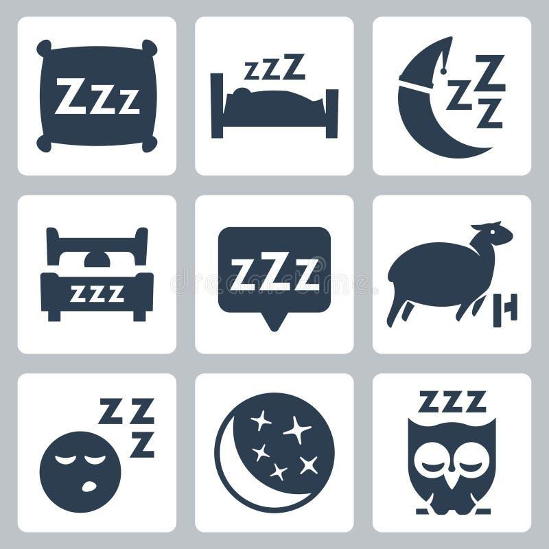 Iconos del concepto del sueño del vector fijados ilustración del vector