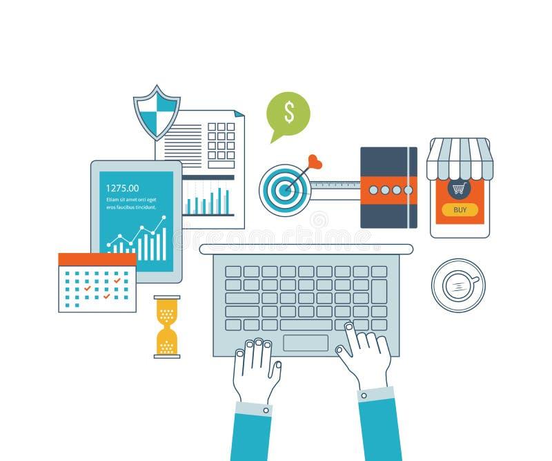 Iconos del concepto fijados de flujo de trabajo del negocio libre illustration