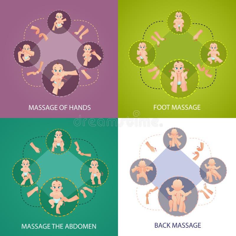 Iconos del concepto del masaje del bebé fijados ilustración del vector