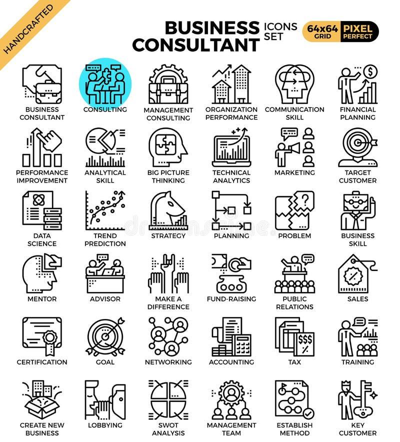 Iconos del consultor de negocio stock de ilustración