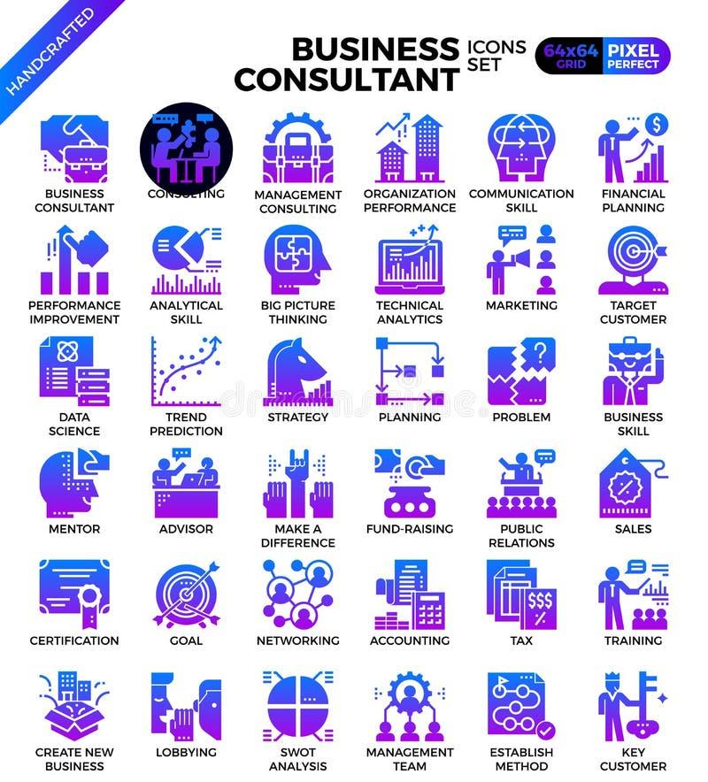 Iconos del consultor de negocio ilustración del vector