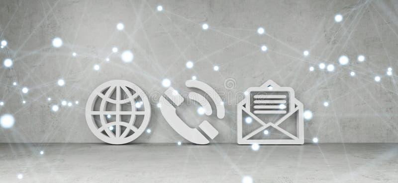 Iconos del contacto en la representación moderna del interior 3D ilustración del vector