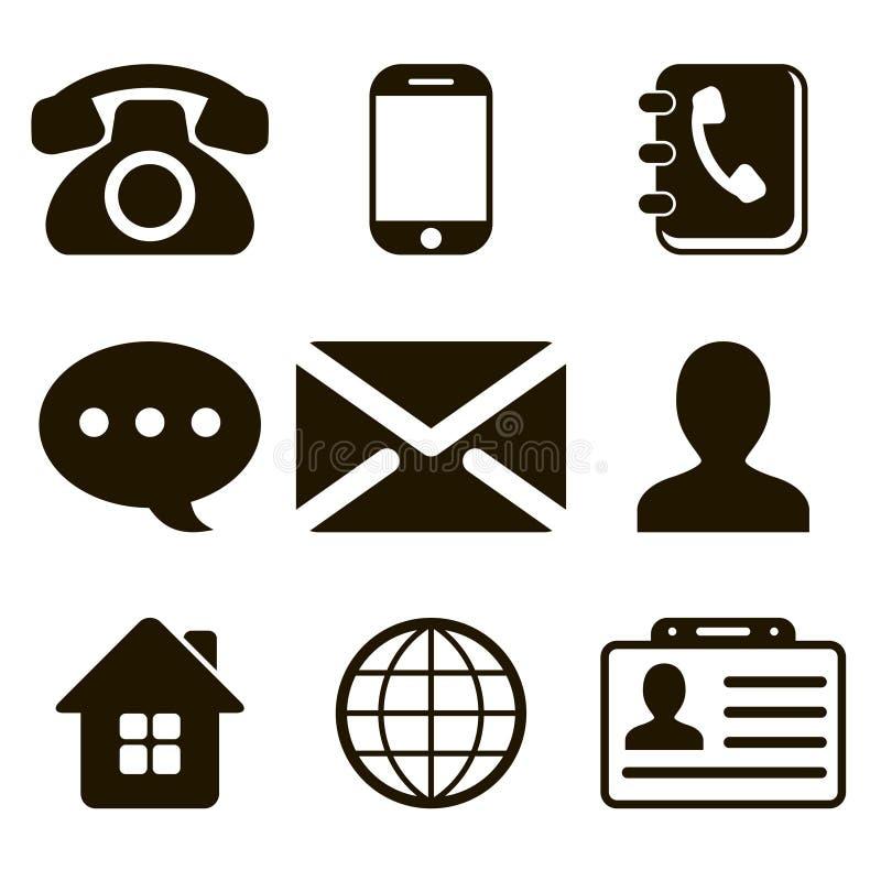 Iconos del contacto fijados stock de ilustración