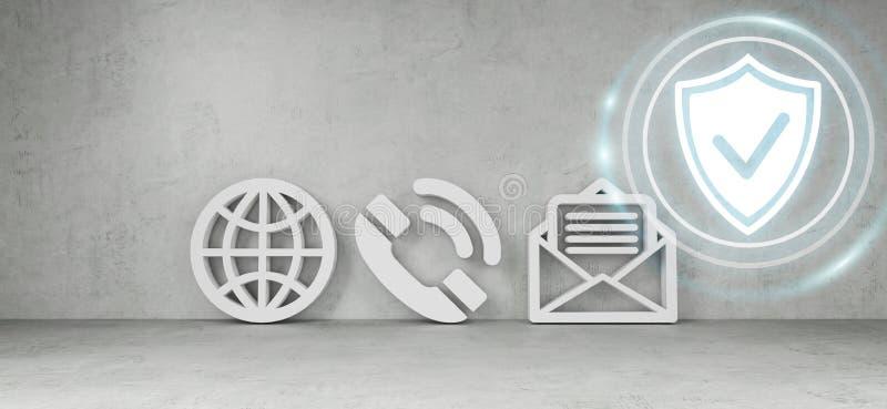 Iconos del contacto que cortan la representación del concepto 3D ilustración del vector