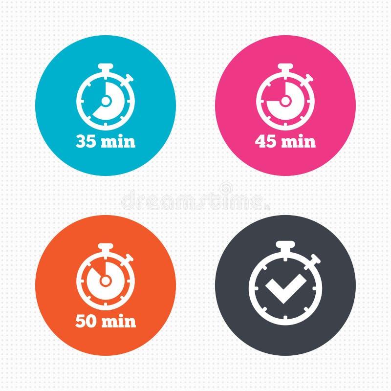 Iconos del contador de tiempo Símbolo del cronómetro de cincuenta minutos ilustración del vector