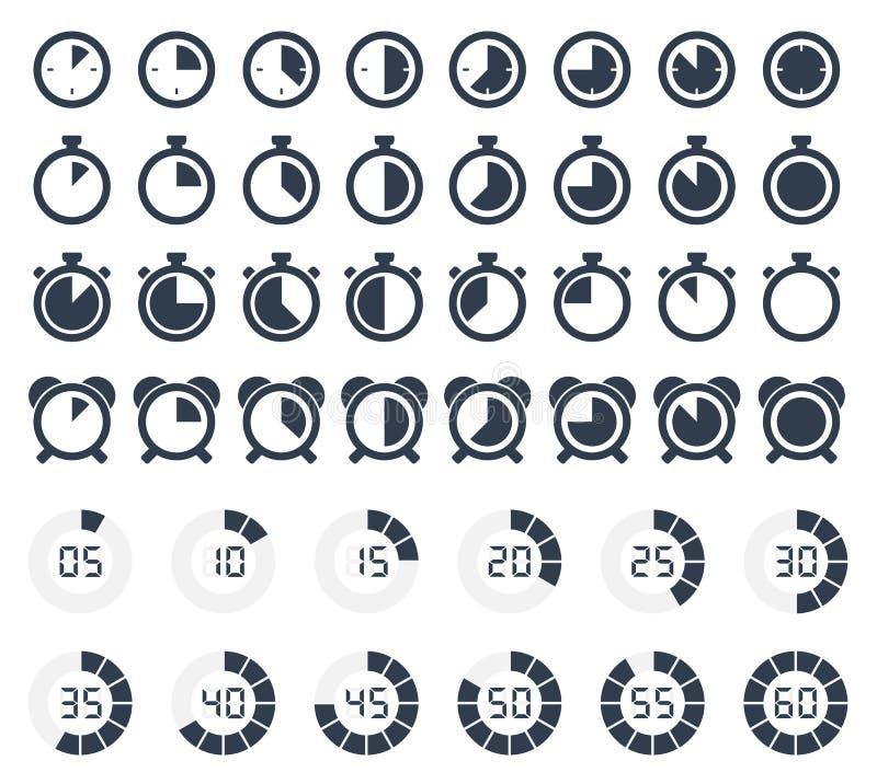 Iconos del contador de tiempo y del cronómetro fijados libre illustration