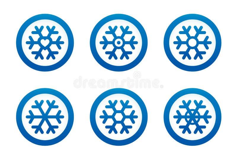 Iconos del copo de nieve fijados ilustración del vector