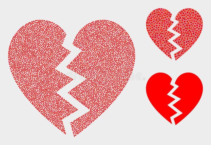 Iconos del corazón quebrado del vector del pixel libre illustration