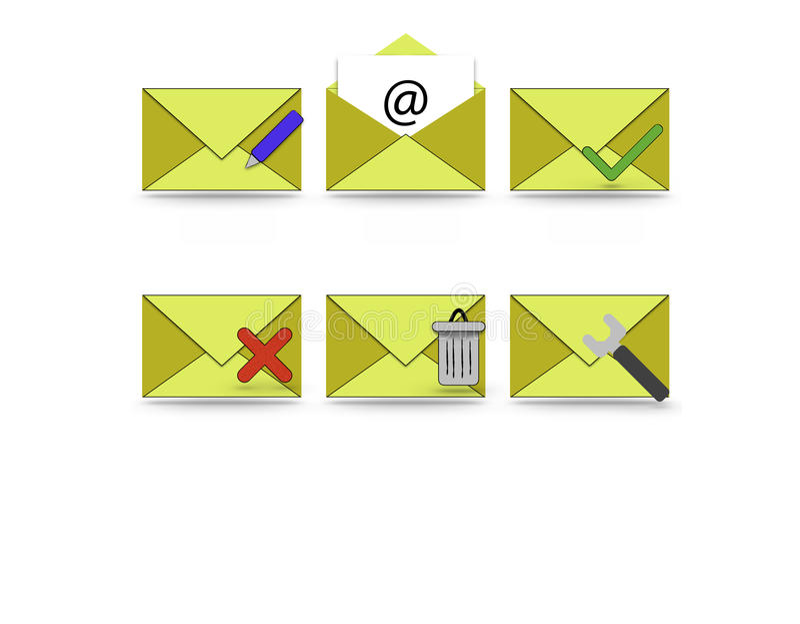 Iconos del correo electrónico y del teléfono imagen de archivo