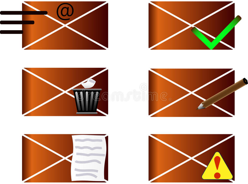 Iconos del correo electrónico y del teléfono imagen de archivo libre de regalías