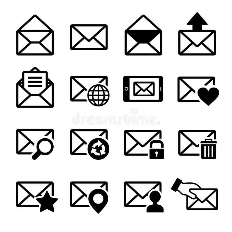 Iconos del correo fijados stock de ilustración