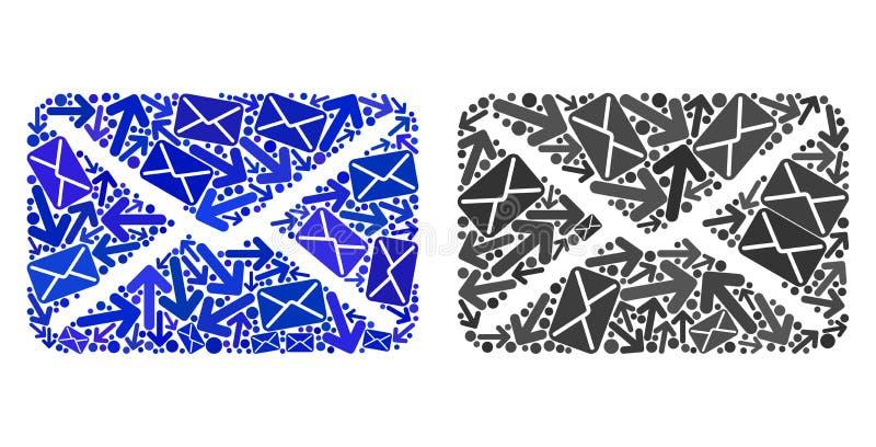 Iconos del correo del mosaico de la entrega del poste stock de ilustración