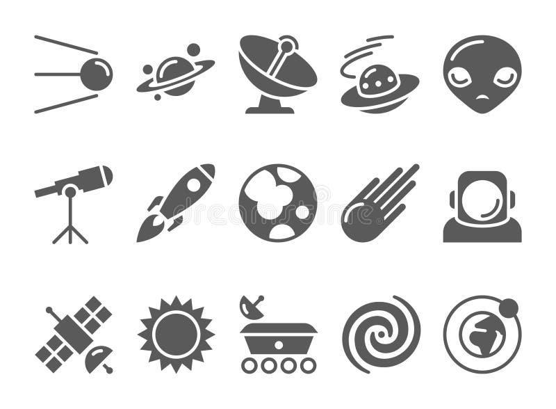 Iconos del cosmos y de la astronomía del espacio fijados ilustración del vector