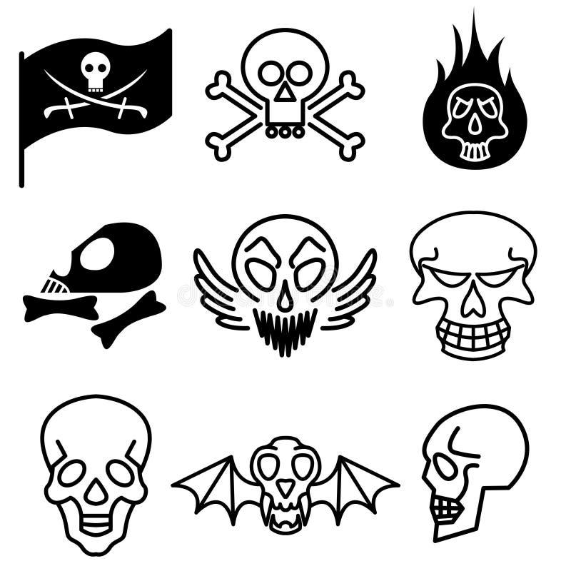 Iconos del cráneo y del rock duro ilustración del vector