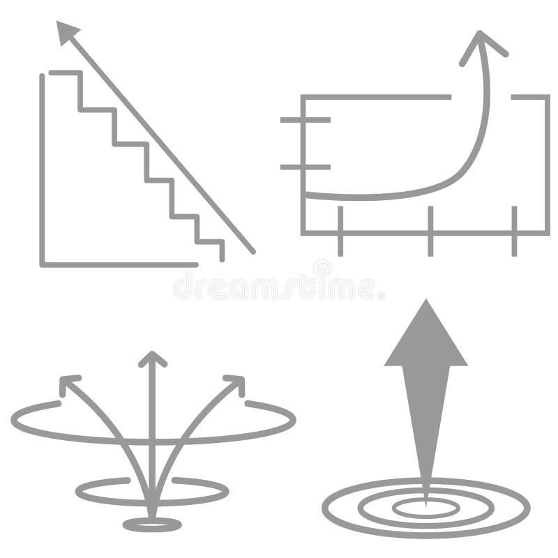 Iconos del crecimiento exponencial stock de ilustración