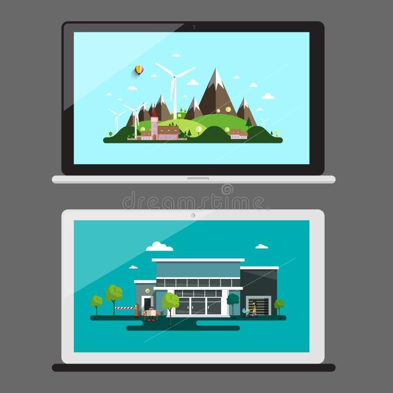 iconos del cuaderno Cuadernos con paisajes libre illustration