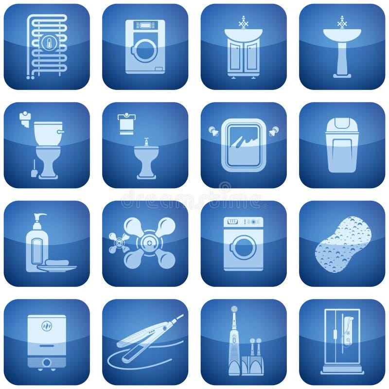 Iconos del cuadrado del cobalto 2.os fijados: Cuarto de baño ilustración del vector
