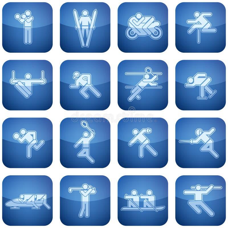 Iconos del cuadrado del cobalto 2.os fijados: Deporte ilustración del vector