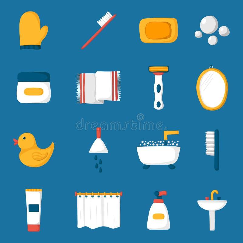Iconos del cuarto de baño de la historieta stock de ilustración