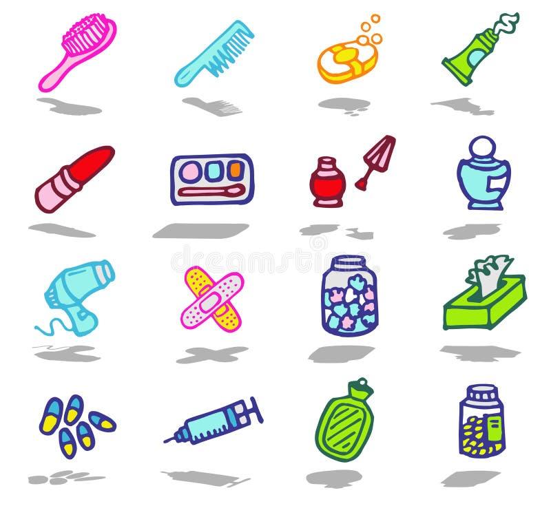 iconos del cuarto de baño fijados ilustración del vector