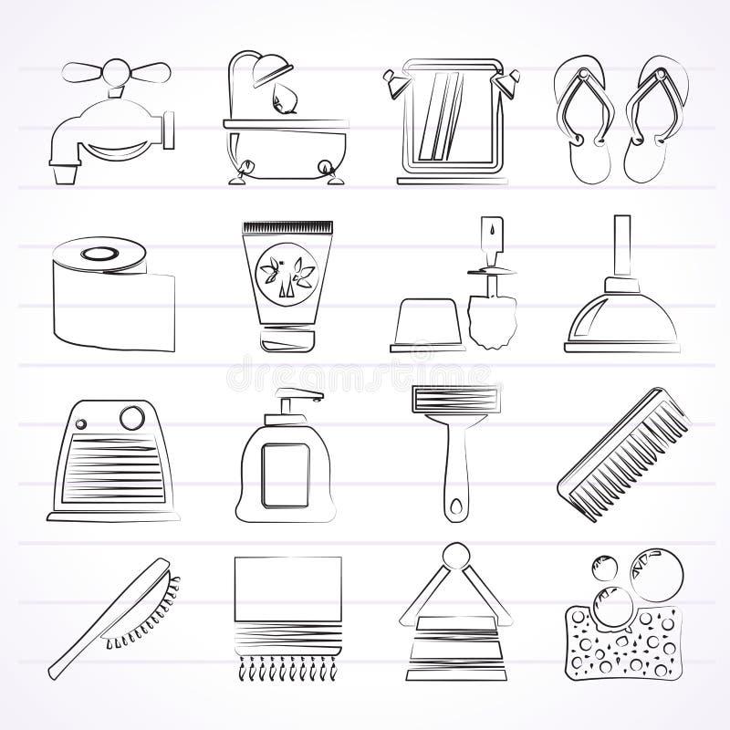 Iconos del cuarto de baño y del cuidado personal ilustración del vector