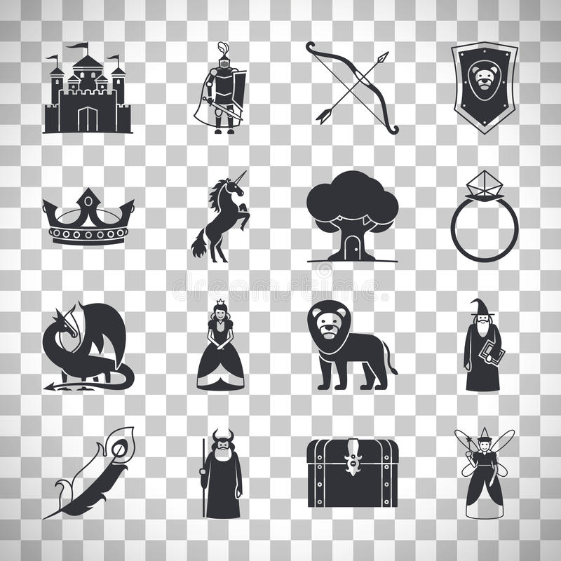 Iconos del cuento de hadas en fondo transparente stock de ilustración