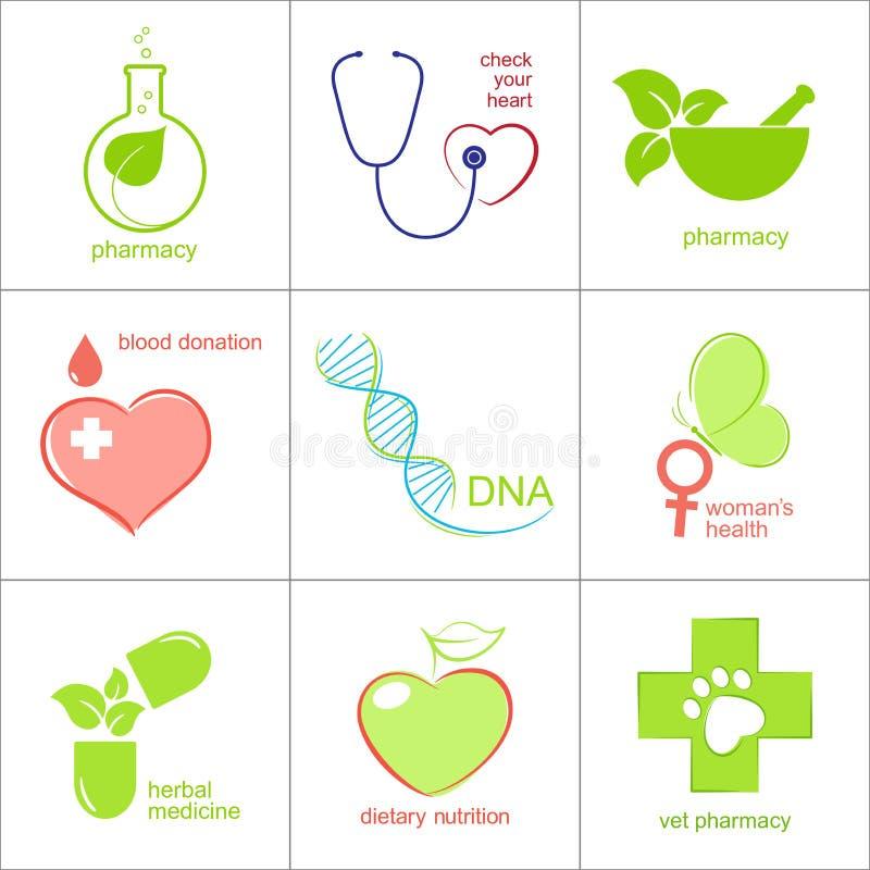 Iconos del cuidado médico stock de ilustración
