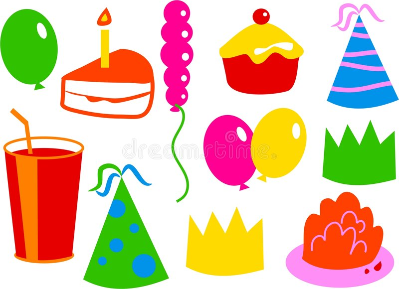 Iconos del cumpleaños libre illustration